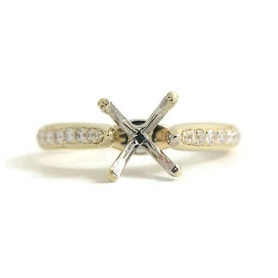 Cathedral Diamond Engagement Ring Setting Mounting 14K Yellow Gold, 3.17 Gr