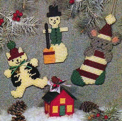 COUNTRY CHRISTMAS CHARM ORNAMENTS PLASTIC CANVAS PATTERN INSTRUCTIONS