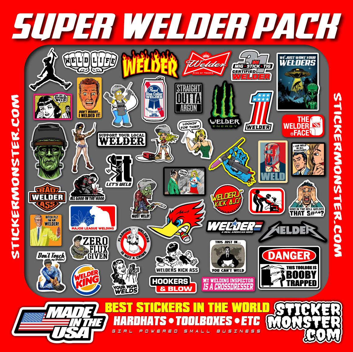 Home Decoration - SUPER WELDER PACK 40+ Hard Hat Stickers HardHat Sticker & Decals, Welding Hood