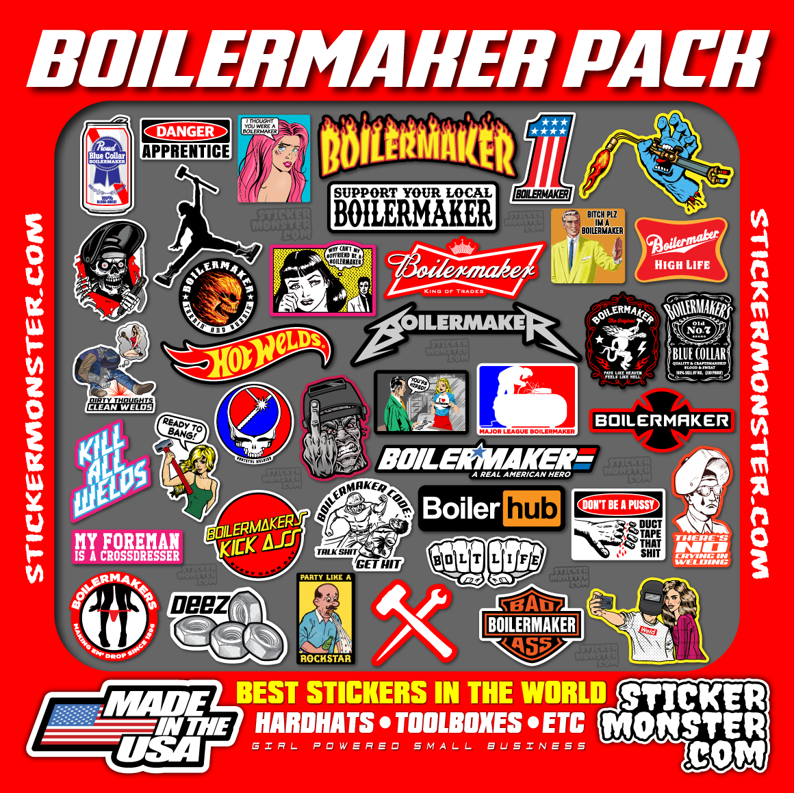 Home Decoration - BOILERMAKER PACK (40) Welder Stickers HardHat Sticker & Decals, Welding Hood