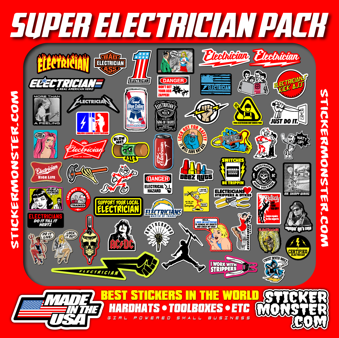 Home Decoration - NEW ELECTRICIAN (55+) Hard Hat Stickers HardHat Decals, Lineman Reddy IBEW
