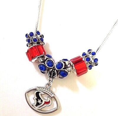 Houston Texans Necklace Football Charm Euro Beads Quality Fast Ship USA Sell (Football Bead Necklaces)