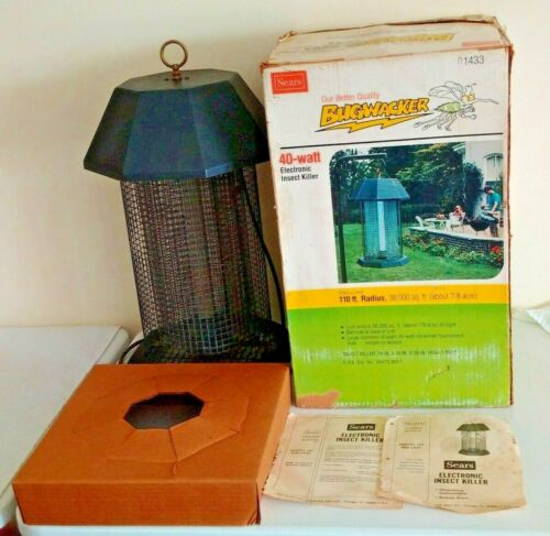 Vintage 1970s Sears BUGWACKER Bug Zapper Box Manual 40 Watt 110ft Radius Works