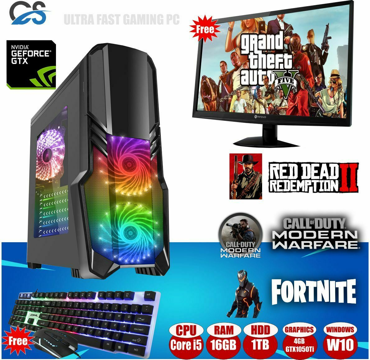 Computer Games - CiT Black RGB Gaming Computer PC Bundle Intel Core i5 16GB 1TB GTX 1050TI Win10
