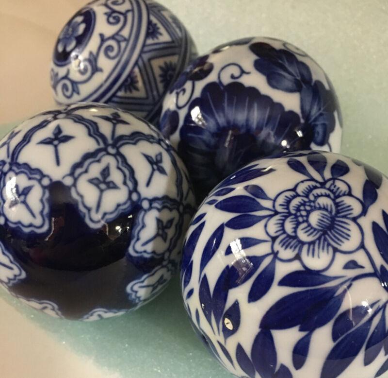 "Blue & White China Balls 4  They Are 10"" Around Painted Well Beautiful!"