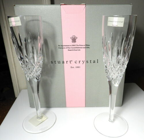 STUART Crystal MADISON Champagnes Flutes, Pair, Made in Ireland, New in Box