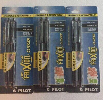 6 Pilot Frixion Ball Clicker Erasable Black Gel Ink Pens Fine 0.7mm Retractable