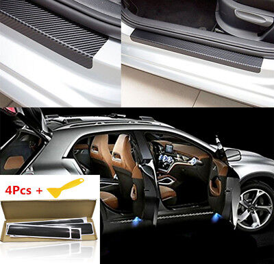 4X 4D Carbon Fiber Car Accessories Door Sill Scuff Protector Stickers US SHIP