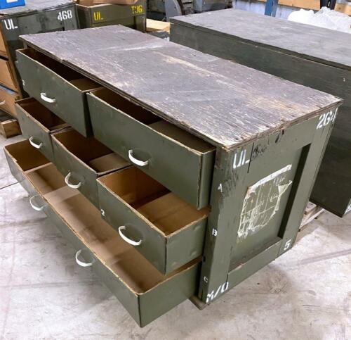 6 each LOT Military Surplus Wooden Parts Chest of Drawers for Storage / Shipment
