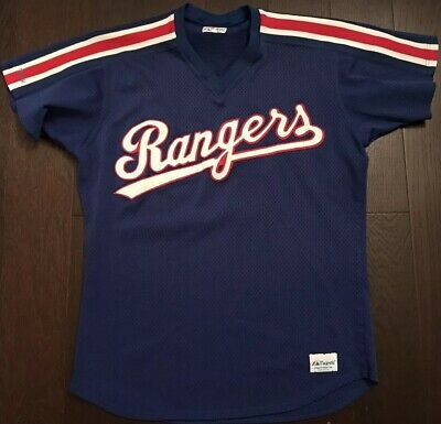Majestic Vintage Texas Rangers Jersey Sewn Baseball 80s/90s Batting Practice 🔥