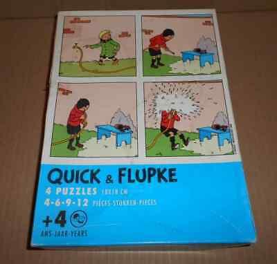RARES Puzzle QUICK et FLUPKE lot de 4 + Boite Herge (auteur Tintin) 2002