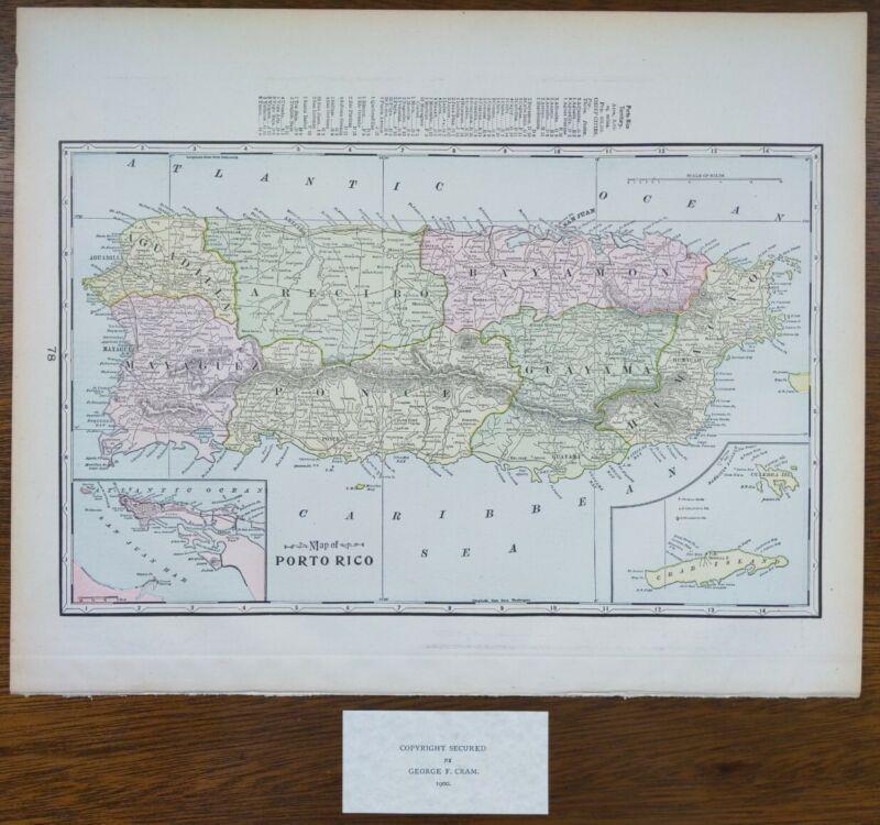 """Vintage 1900 PUERTO RICO Map 14""""x11"""" ~ Old Antique Original CAROLINA CEIBA PONCE"""