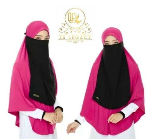 Hot Pink Eisyah 2XL Khimar Instant Hijab Slip On Scarf Niqab Long Jilbab