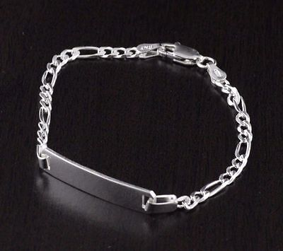 Childrens Kids 925 Sterling Silver Boys ID Figaro Bracelet 7inch Italy Made