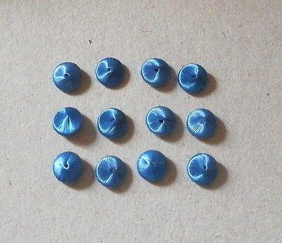 Alte Seidenknöpfe 7mm blau Knöpfe Knopf für Puppen Kleidung Schuhe