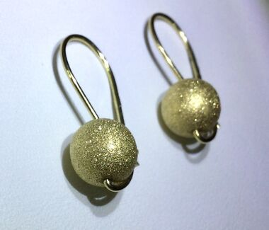 Genuine Solid 9ct 375 Yellow Gold Satin Finish Euroball Earrings