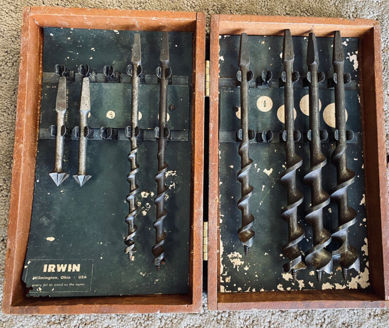 """VINTAGE """" IRWIN """" SOLID CENTER AUGER DRILL BITS IN ORIGINAL OAK BOX - SEE PHOTOS"""