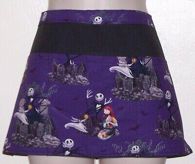 HALLOWEEN NIGHTMARE BEFORE CHRISTMAS, Black waitress server apron 3 pockets  - Halloween Waitress