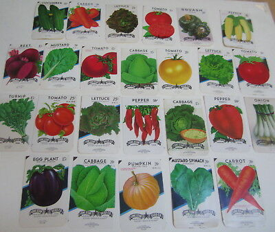 Lot of 25 Old Vintage - VEGETABLE - SEED PACKETS - San Antonio Texas - EMPTY