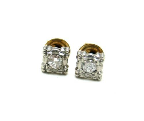ANTIQUE DECO 14K Y GOLD & PALLADIUM DIAMOND STUD EARRINGS