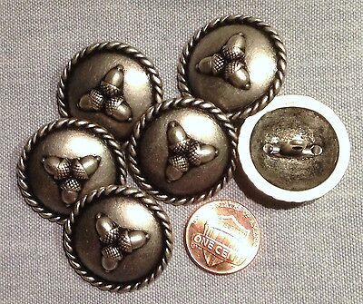 "6 Antique Silver Tone Shank Metal Domed Buttons Acorns 1 1 /8"" 27.7mm # 7946"