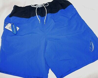 NEW MENS MEDIUM BLUE COLORBLOCK LOGO NAUTICA SWIM TRUNKS BOARD SHORTS W/ LINER