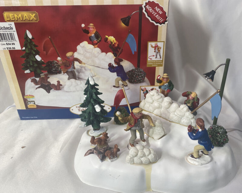 Lemax Christmas Village Animated & Illuminated Table Accent ~ SNOWBALL FIGHT