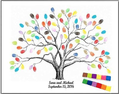"""Large 23.6"""" Canvas Fingerprint Tree Painting Wedding Party Guest Book w/ Ink Pad"""