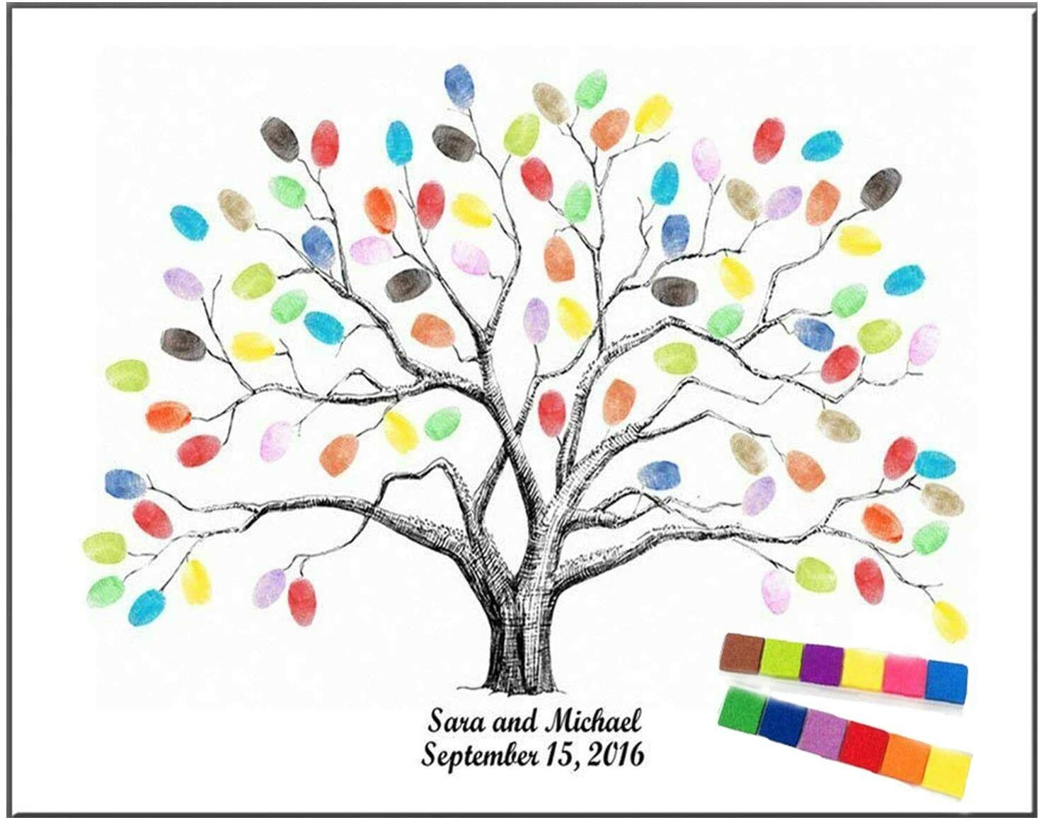 Large 23.6″ Canvas Fingerprint Tree Painting Wedding Party Guest Book w/ Ink Pad Guest Books & Pens