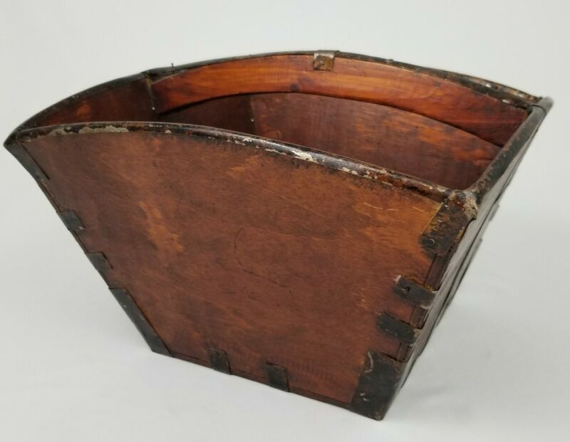 Antique Chinese Rice Grain Bucket Wooden Metal Asian Vintage