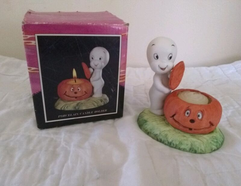 1986 Casper The Friendly Ghost Porcelain Candle Light Holder Harvey Publications