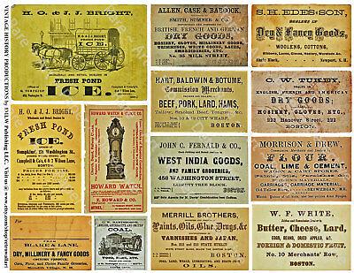 12 ADVERTISING TRADE CARD Stickers, 1 Sheet, Junk Journal & Collage Art Tags Art Collage Sheet