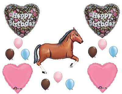 14pc floral HORSE party BALLOONS new BIRTHDAY pink COWGIRL dressage FAVORS (Horse Birthday Party)