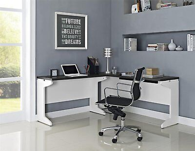 White Gray 2 Piece L-Shape Desk Set Collection Home Office Living Furniture L-shaped Home Office Set