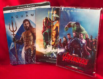 Aquaman (4K UHD + 3D + 2D Steelbook) + Aquaman, Avengers End Game Art Cards