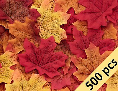 500PCS Fall Artificial Maple Leaves Decorations - Thanksgiving Autumn Leaf - Fall Leaves Decorations