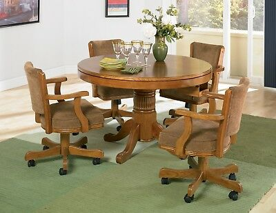 NEW 3 in1 OAK GAME DINING TABLE w/ 4 ARM CHAIRS SET CASTERS BUMPER POOL POKER (Cherry Dining Room Game Table)