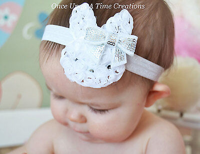 White Shabby Bunny Rabbit Newborn Headband Baby Girl HairBow Easter Spring Bow  - Easter Headbands