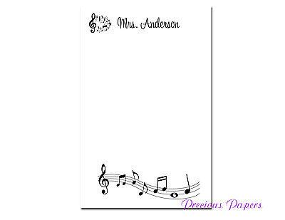 Music Teacher Personalized Note Pads Music Teacher Gifts Teacher Appreciation