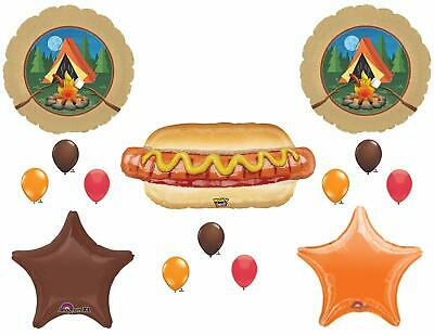 14 BALLOONS Camping scouts Bon Fire Hot Dog Birthday Party summer camp s'mores - Birthday Bonfire