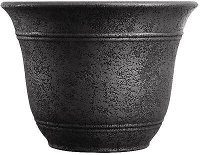 Flower Pot Large Planter 16 Inch Wide Garden Carport Patio Tree Base Black S ()