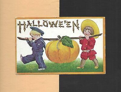 CHILDREN CARRY HUGE PUMPKIN On Colorful Vintage 1909 HALLOWEEN Postcard