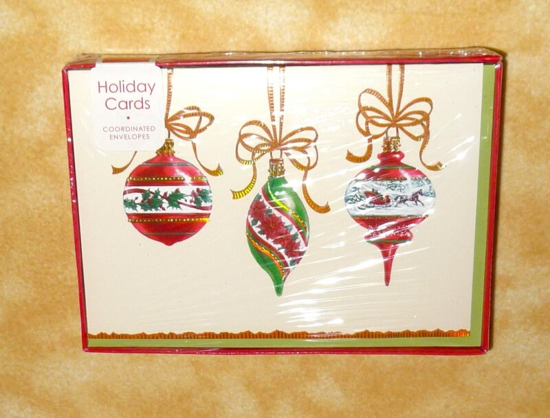 NEW 16 holiday cards Christmas Ornaments envelopes included