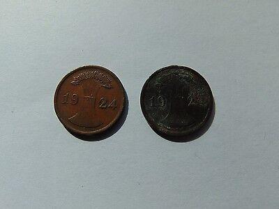 2 Münzen Deutsches Reich 2 Pfennig 1924 A