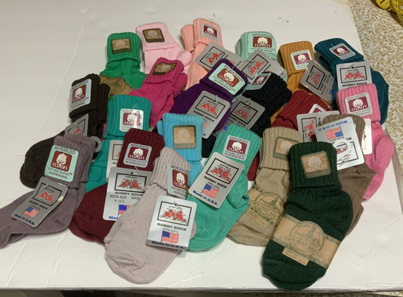 TWO FEET AHEAD Unisex Bobby Socks vintage double roll natural cotton blend USA