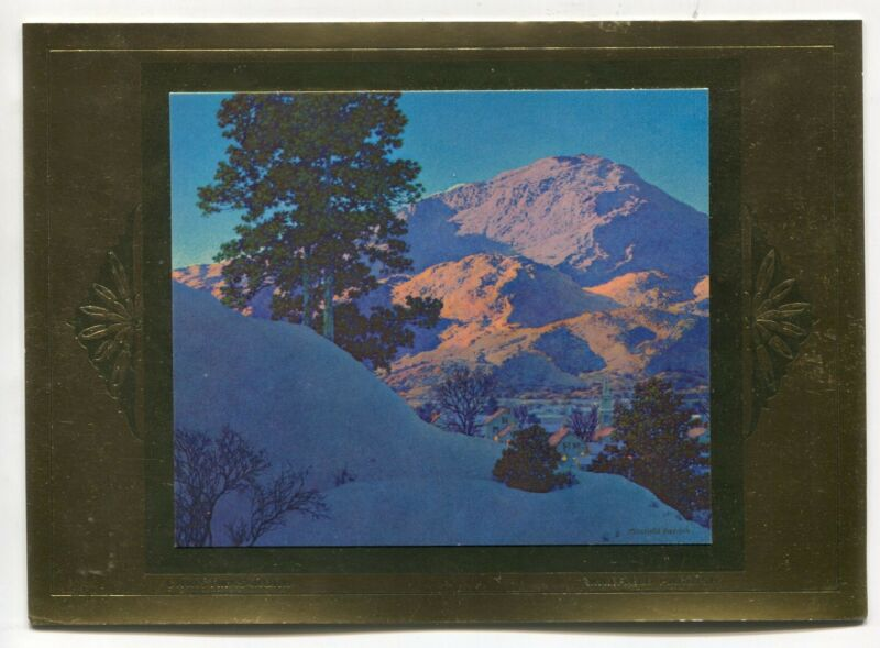 Vintage Christmas Morn Winter Mountains UNUSED Maxfield Parrish Christmas Card