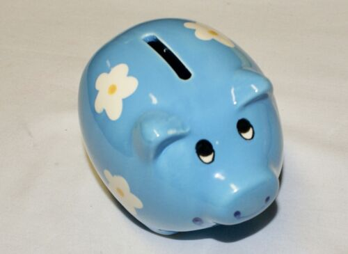 """Blue Pig Coin Piggy Bank Ceramic with Flowers 4.25"""" NEW Shower Party Favor"""