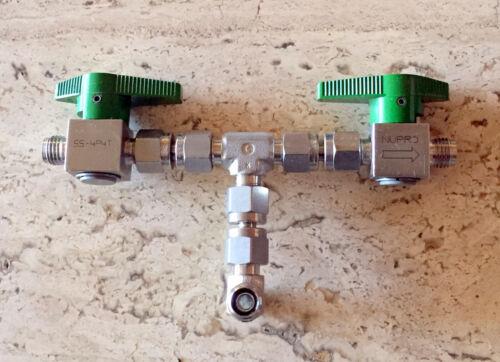 "Nupro SS-4P4T-GR Quarter Turn Instrument Plug Valves,1/4"" Swaglok fittings"
