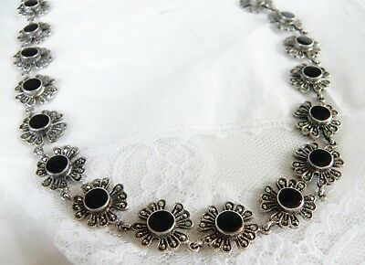 Vintage Chunky Sterling Silver Black Onyx Marcasite HEAVY Necklace 17.5