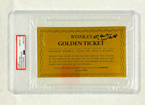Gene Wilder Signed Willie Wonka Golden Ticket PSA/DNA Gem MT 10 Graded